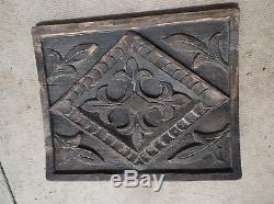 Tudor small wood panel decorated carved leaves diamonds