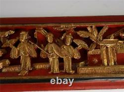 Two Antique Chinese Carved Wood Panel With Figures Pagoda Landscape