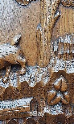Two antique wood oak door panels hand carved France hunting scene dog bird