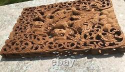 VIntage Bali Balinese Dancers Boho Hand Carved Wood Teak Folk Art Wall Panel
