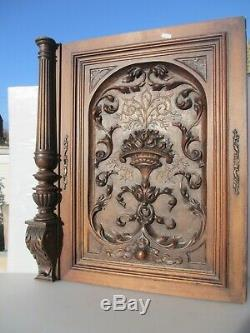 Victorian Carved Wooden Panel Plaque Door Antique French Old Wood Rococo Baroque