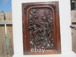 Victorian Carved Wooden Panel Plaque Door Antique Old Wood Hunting Horse Castle