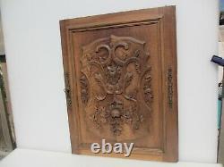 Victorian Carved Wooden Panel Plaque Door Antique Old Wood Rococo Nouveau Leaf