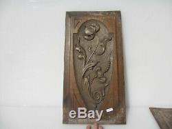 Victorian Carved Wooden Panel Plaque Old Antique Wood Rococo Leaf Urn Nouveau