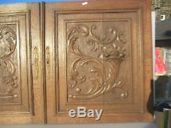 Victorian Carved Wooden Panels Plaque Doors Antique French Old Wood Rococo Urn