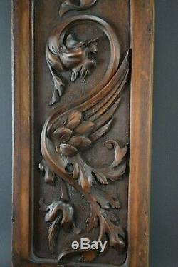 Victorian French Hand Carved Wood Griffin Wall Panel Chimera