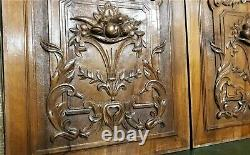 Victorian scroll leaf walnut carving panel Antique french architectural salvage