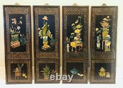 Vintage 1960s 4-Set Chinese Carved Stone Wall Panels 36 x 12