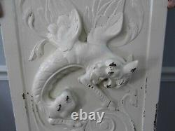 Vintage 25 1/2 Wood Carved Panel Winged Griffin Gothic Salvage Painted