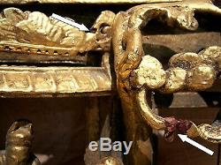 Vintage Antique Asian Chinese Deeply Carved Art Gilt Gold Wood Panel Carving