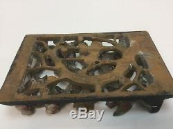 Vintage Antique Wood Carved Drawer Panel Asian Red Yellow birds 3D