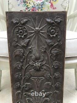 Vintage Arts & Crafts Carved Wood Panel Wall Plaque Old Door Decorative Antique