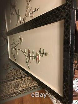 Vintage Asian Carved Wood Wall Art Panels Set Of 3 Birds Flowers 36x12