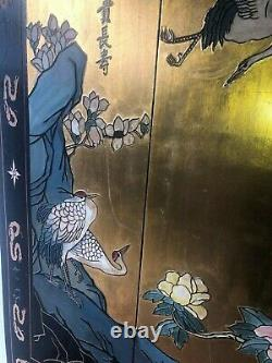 Vintage Asian Carved Wood Wall Art Panels Set Of 4 Birds Flowers 36x12 Used