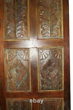 Vintage BARNDOOR Rustic Farmhouse Door India Carved Teak PANEL Blue HEADBOARD
