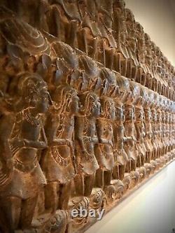 Vintage Balinese Wood Panel, Hand-carved. Scene From A Mythological Epic Poem