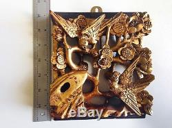 Vintage CHINESE RELIEF CARVED GILT WOOD PANELS Birds & Flowers Red Lacquer Back