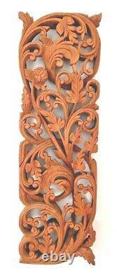 Vintage Carved Relief 3d Teak Panel Lotus Wall Art Balinese / Thai / Indian