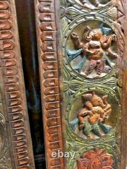 Vintage Carved Wood Ganesha Wall Panel PAIR, Indian Art, Yoga Sculpture, WallArT