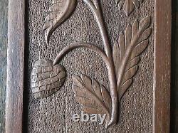 Vintage Carved Wooden Panel Hanging Plaque Floral Grasses Design, 20.5 x 38cm