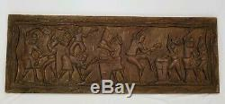 Vintage Carved Wooden Relief Panel Wall Plaque African South American Tribal 40