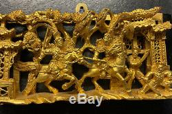 Vintage Chinese Gilded Carved Wood Relief Panel