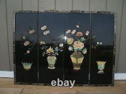 Vintage Chinoiserie 4 Panel Laquered Wood Carved Wall Art