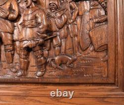 Vintage Deep Carved Oak Wood Panel after The Night watch by Rembrandt