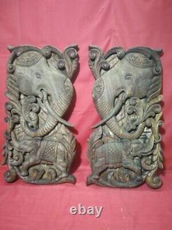Vintage Elephant Wall Panel Pair Hand Carved Wooden Door Window panel Decor UK