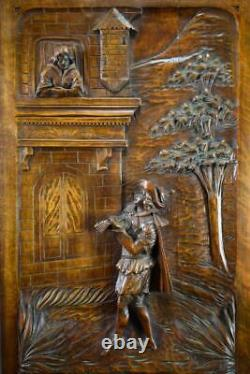 Vintage French Antique Carved Wood Panel Romantic Scene 19th