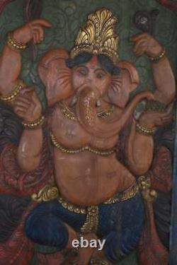 Vintage Ganesha Barn Door, Hand Carved Wood Wall Panel, Wall Decor, Yoga Decor