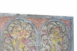Vintage Kamasutra Carved WOOD Panel Bedroom Headboard Bohemian ECLECTIC Decor