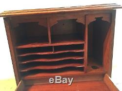 Vintage Oak Carved Front Panel Stationary / Writing Box With Drawer & Slope