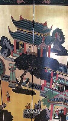 Vintage Oriental Black 4 Panel Screen Room Divider WithWomen. READ FULL DESCRIPT
