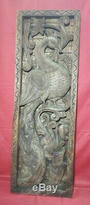 Vintage Peacock Hand Carved Wall Panel Wooden Vertical Floral Window Decor Pair
