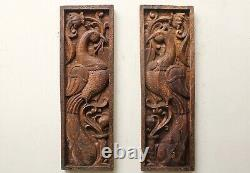 Vintage Peacock Hand Carved Wall Panel Wooden Vertical Floral Window Pair Rare