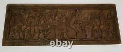 Vintage Relief Panel Wall Sculpture Ethnic Tribal Folk Art Carved Wood 40