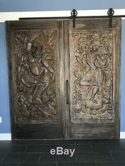 Vintage Saraswati Veena Wood Carvings Barn Door Panel Hindu Goddess Sculpture 72