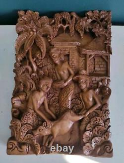 Vintage Wall Hanging Wooden Panel Bali Carved Wood 3D Wall Sculpture