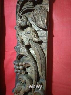 Vintage Wall Panel Pair Wooden Floral Hindu Temple Peacock Carving Decor Door UK