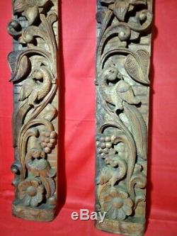 Vintage Wall Panel Pair Wooden Floral Hindu Temple Peacock Carving Decor Door US