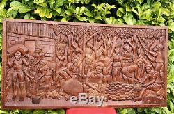 Vintage Wood Carving Large Wooden Panel Hand Carved Cocoa Harvest Scene 47.5in L
