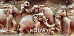 Vintage Wooden Hand Carved Elephant Wall Panel Temple Art Collectible Home Decor