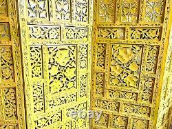 Vintage Yellow Ornate Carved Wood Indian 4 Panel Room Divider/Screen 80 Wide