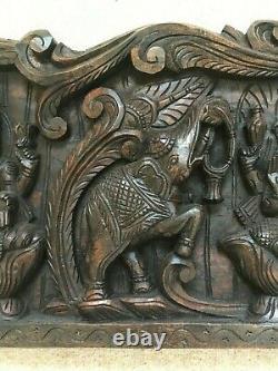 Vintage wooden carved Wall Panel Hindu God Ganesh Laxmi Saraswati Decor Antique