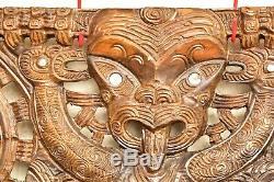 Vtg Maori Tribal Art Wood Carved Koruru Warrior Paua Shell Eye hanging panel 48