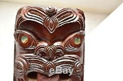 Vtg Maori Tribal Art Wood Carved Koruru Warrior Paua Shell Eyes hanging panel