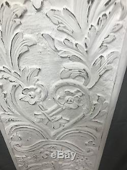 Wall Hanging Panel Flower Vase Hand Carved & Hand Painted 100%mango Wood White