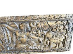 Wall Panel Vintage Hand Carved WOOD Buddha Headboard RUSTIC Yoga Chic CLEARANCE