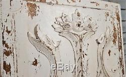 Withe painted griffin wood carving panel Antique french architectural salvage
